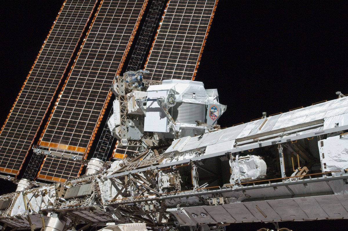 The AMS-02 instrument, shown here attached to the outer hull of the ISS. Credit: NASA